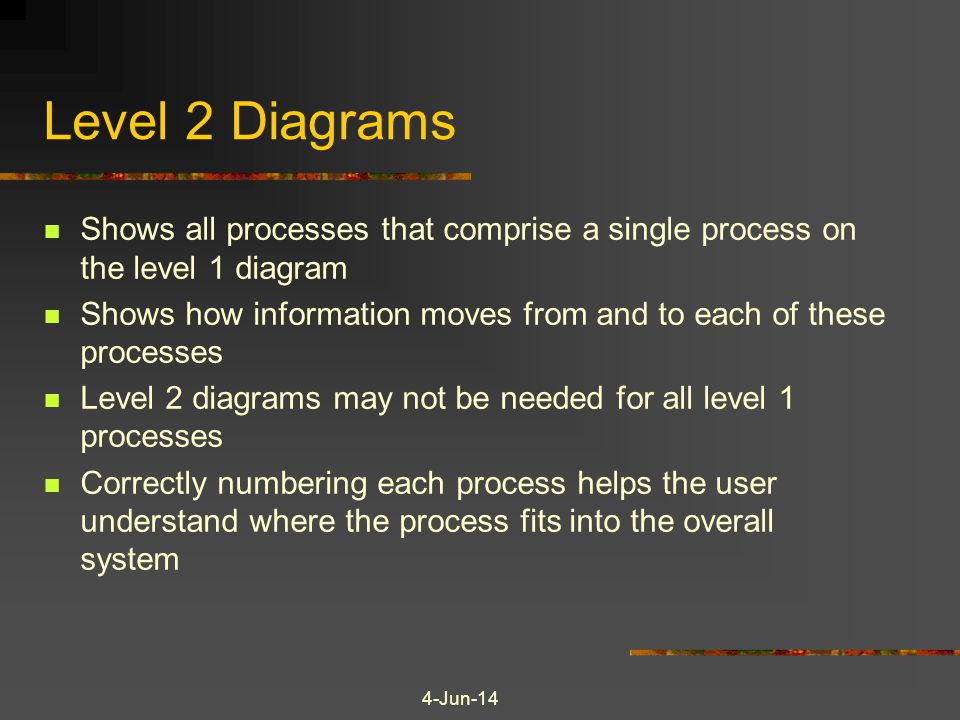 4-Jun-14 Level 2 Diagrams Shows all processes that comprise a single process on the level 1 diagram Shows how information moves from and to each of these processes Level 2 diagrams may not be needed for all level 1 processes Correctly numbering each process helps the user understand where the process fits into the overall system