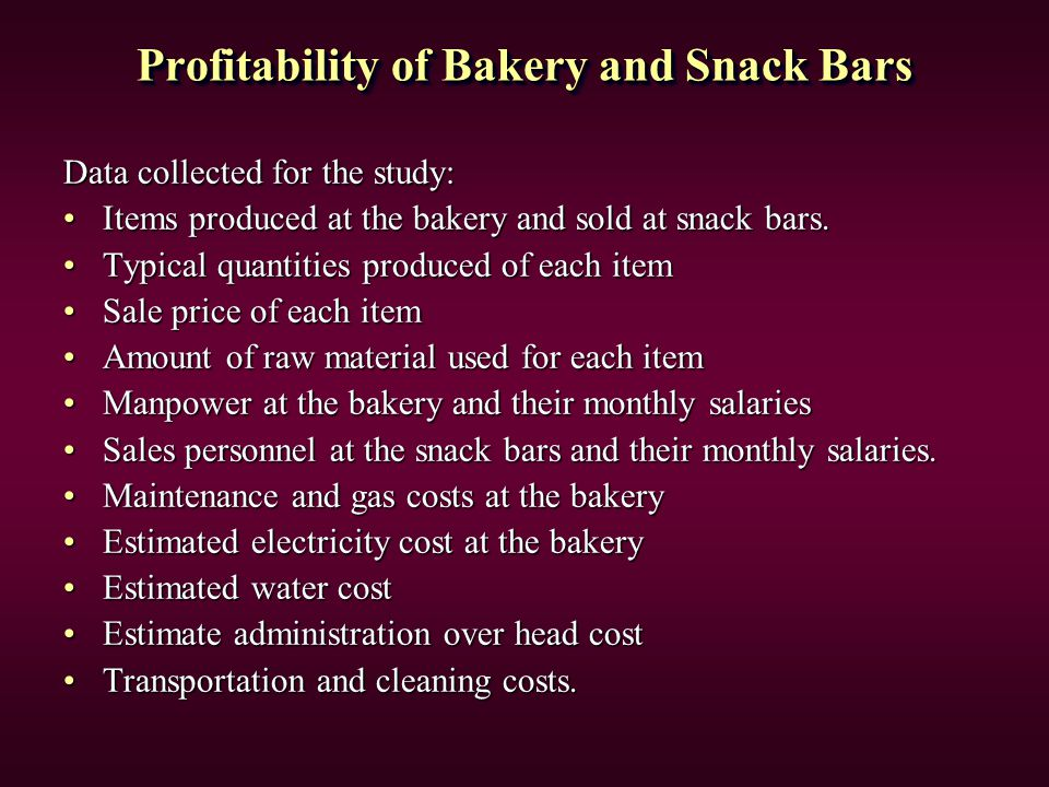 Profitability of Bakery and Snack Bars Data collected for the study: Items produced at the bakery and sold at snack bars.Items produced at the bakery and sold at snack bars.