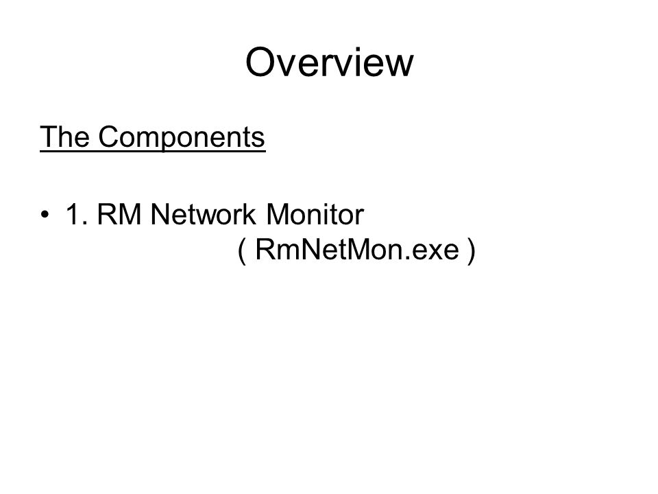 Overview The Components 1. RM Network Monitor ( RmNetMon.exe )