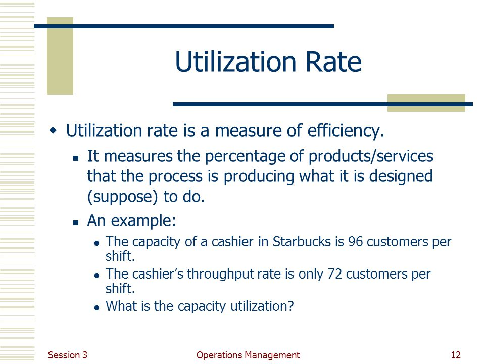 Session 3 Operations Management12 Utilization Rate Utilization rate is a measure of efficiency.