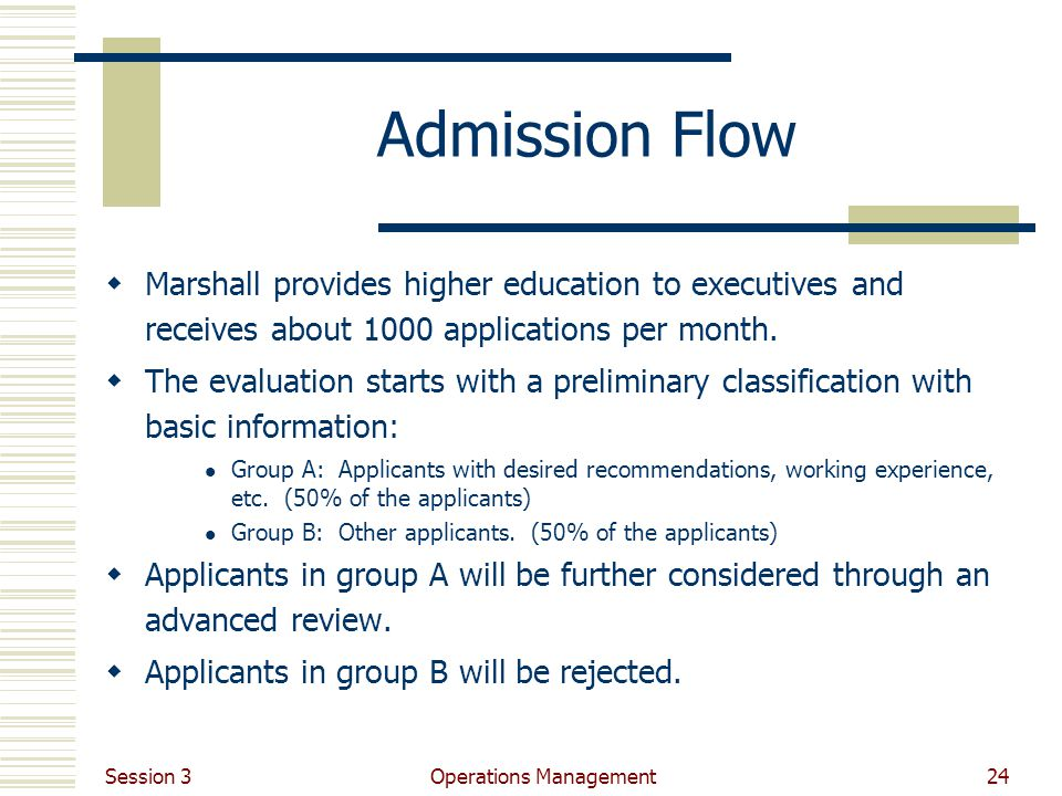 Session 3 Operations Management24 Admission Flow Marshall provides higher education to executives and receives about 1000 applications per month.