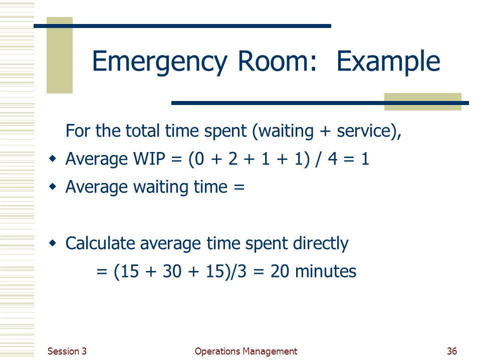 Session 3 Operations Management36 Emergency Room: Example For the total time spent (waiting + service), Average WIP = (0 + 2 + 1 + 1) / 4 = 1 Average waiting time = Calculate average time spent directly = (15 + 30 + 15)/3 = 20 minutes