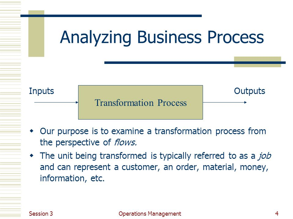 Session 3 Operations Management4 Analyzing Business Process InputsOutputs Our purpose is to examine a transformation process from the perspective of flows.