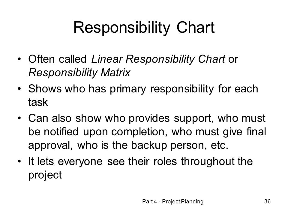 Part 4 - Project Planning36 Responsibility Chart Often called Linear Responsibility Chart or Responsibility Matrix Shows who has primary responsibility for each task Can also show who provides support, who must be notified upon completion, who must give final approval, who is the backup person, etc.