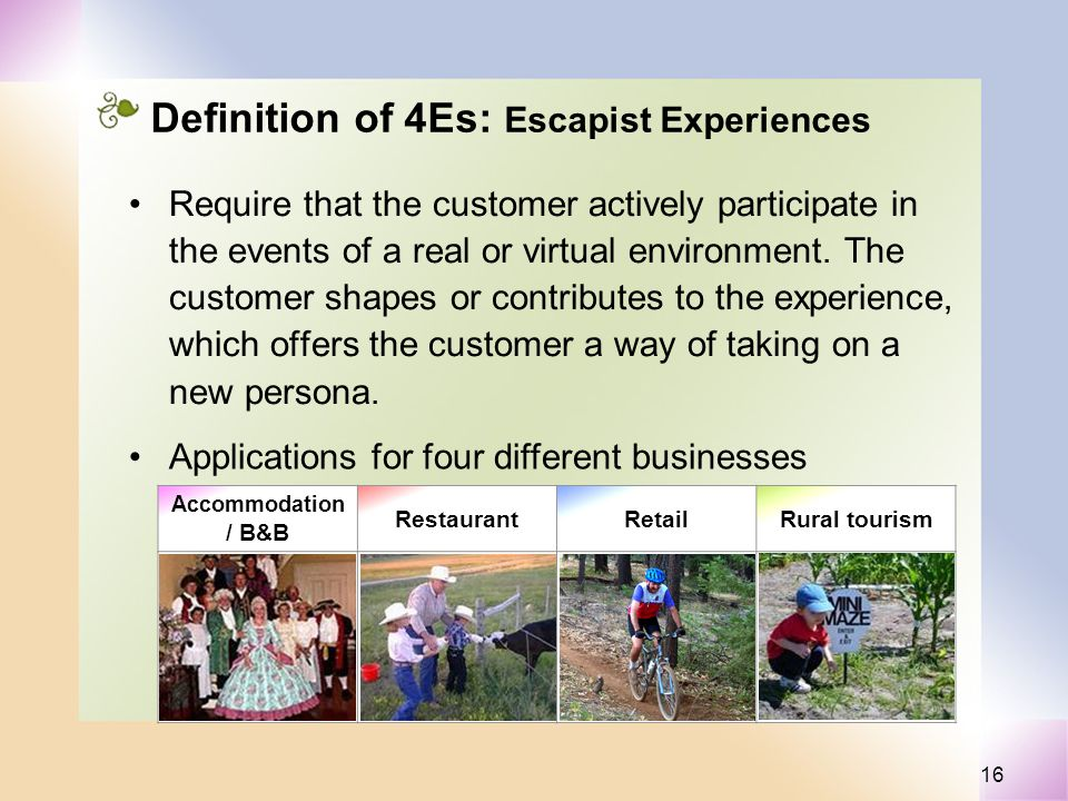 16 Definition of 4Es: Escapist Experiences Require that the customer actively participate in the events of a real or virtual environment. The customer