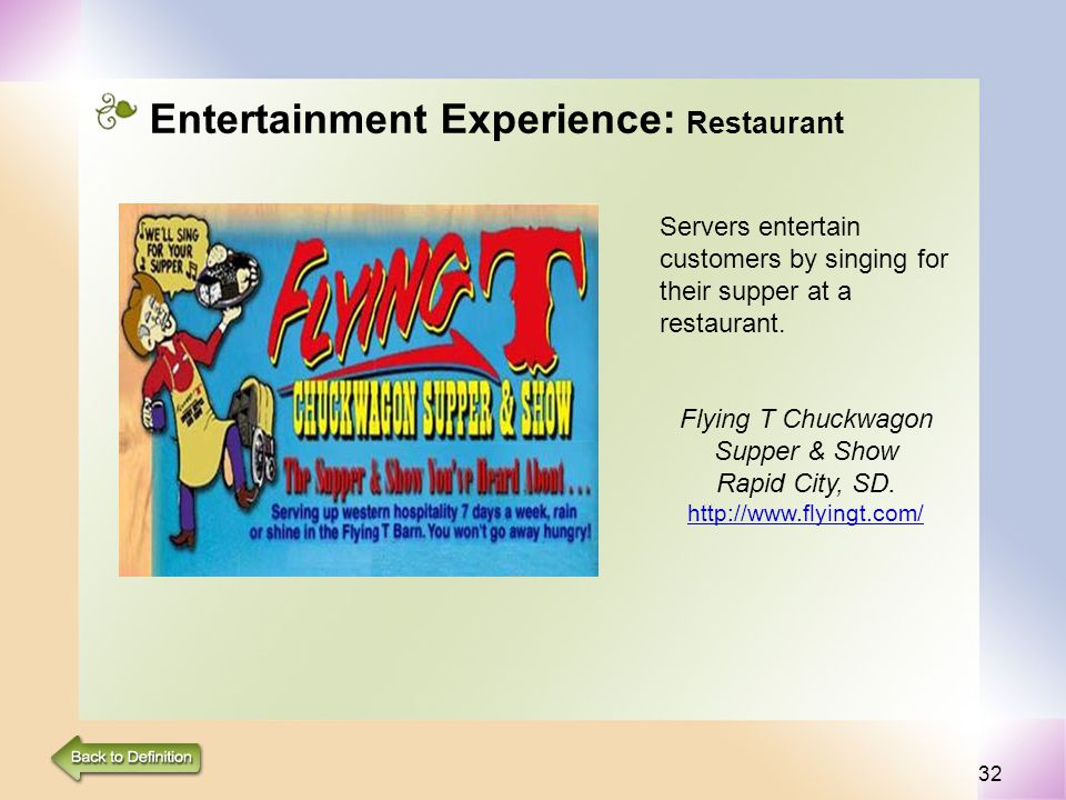 32 Entertainment Experience: Restaurant Servers entertain customers by singing for their supper at a restaurant. Flying T Chuckwagon Supper & Show Rap