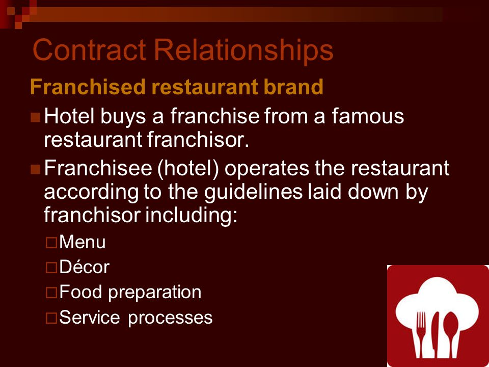 Contract Relationships Franchised restaurant brand Hotel buys a franchise from a famous restaurant franchisor.