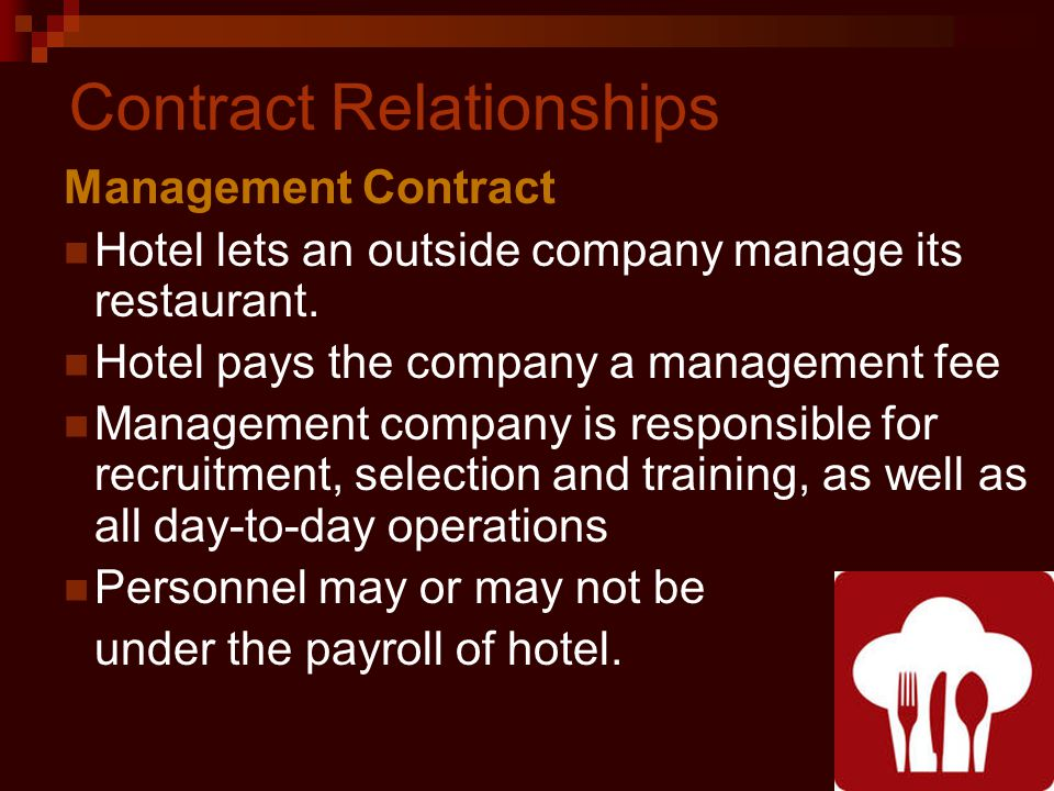 Contract Relationships Management Contract Hotel lets an outside company manage its restaurant.