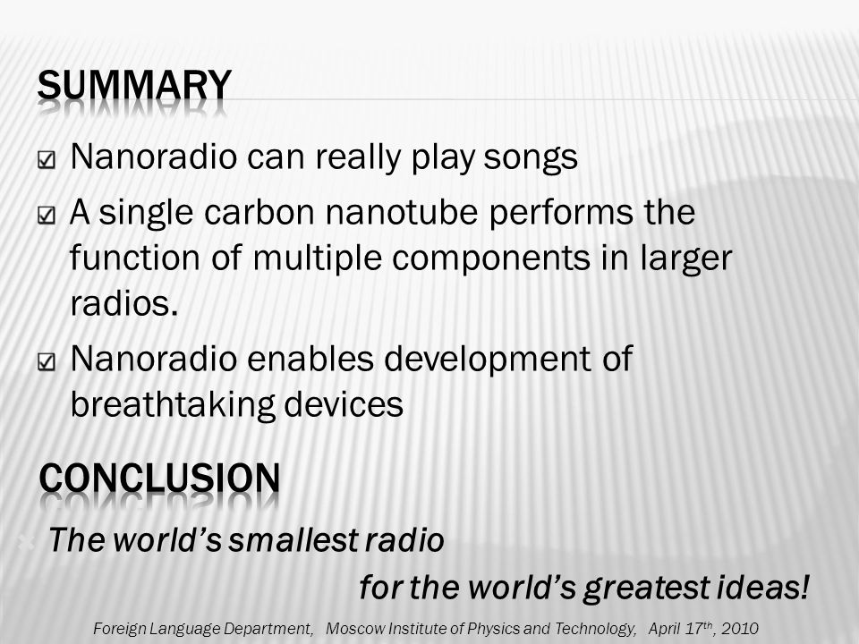 Nanoradio can really play songs A single carbon nanotube performs the function of multiple components in larger radios.