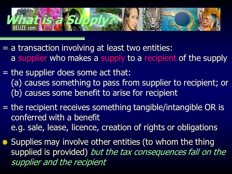 What is a Supply? = a transaction involving at least two entities: a supplier who makes a supply to a recipient of the supply = the supplier does some