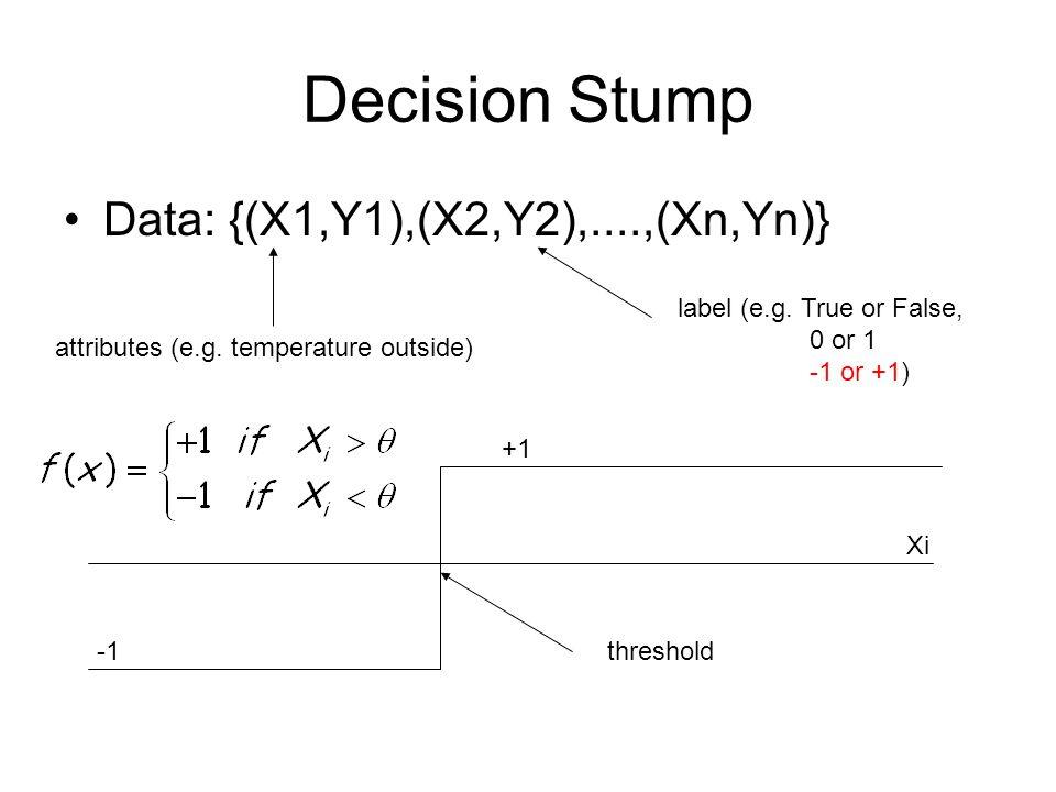 Decision Stump Data: {(X1,Y1),(X2,Y2),....,(Xn,Yn)} attributes (e.g. temperature outside) label (e.g. True or False, 0 or 1 -1 or +1) Xi threshold +1