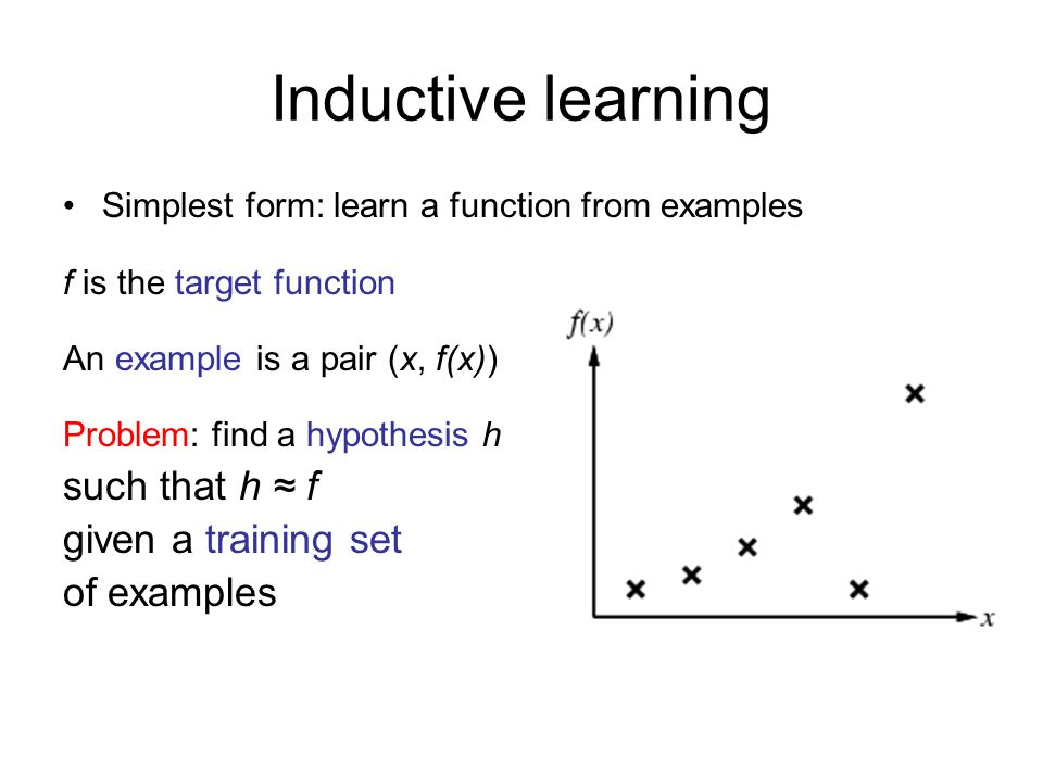 Information gain For the training set, p = n = 6, I(6/12, 6/12) = 1 bit Patrons has the highest IG of all attributes and so is chosen by the DTL algorithm as the root
