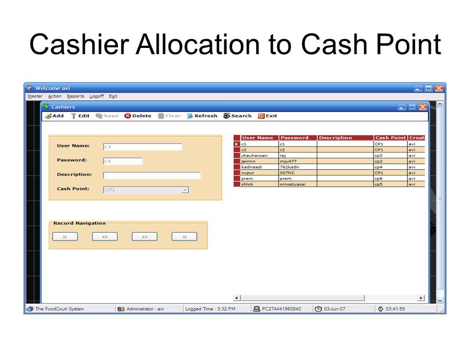 Cash Point Control