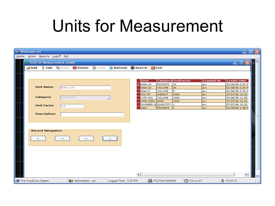 Measurement Unit for Inventory