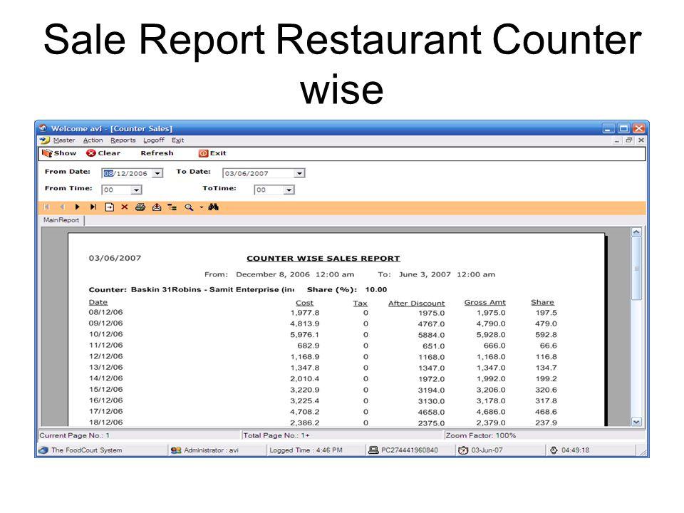 Report Control Panel