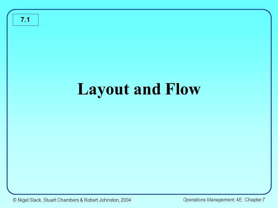 © Nigel Slack, Stuart Chambers & Robert Johnston, 2004 Operations Management, 4E: Chapter 7 7.2 Chapter coverage Basic layout types Selecting a layout type Detailed design of a layout