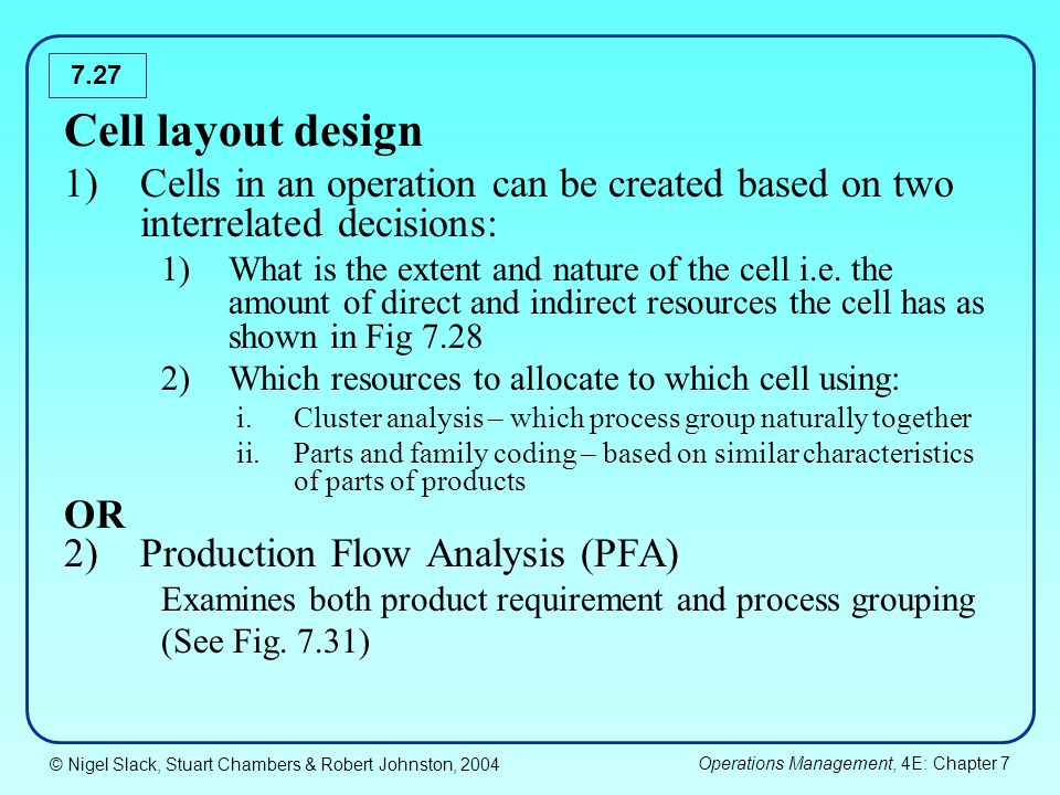© Nigel Slack, Stuart Chambers & Robert Johnston, 2004 Operations Management, 4E: Chapter 7 7.27 Cell layout design 1)Cells in an operation can be cre