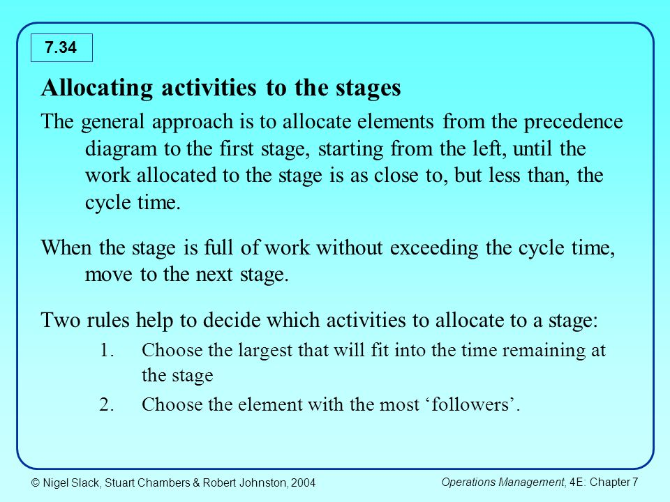 © Nigel Slack, Stuart Chambers & Robert Johnston, 2004 Operations Management, 4E: Chapter 7 7.34 Allocating activities to the stages The general appro