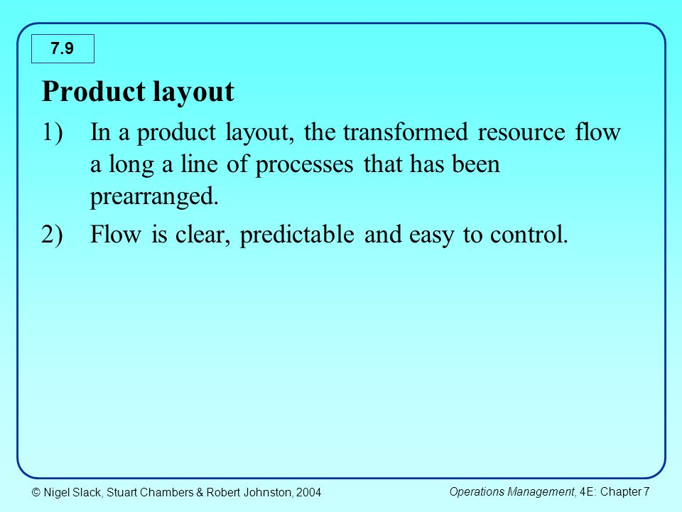 © Nigel Slack, Stuart Chambers & Robert Johnston, 2004 Operations Management, 4E: Chapter 7 7.30 Product layout design 1)Product type layout is designed based on a technique called line balancing.