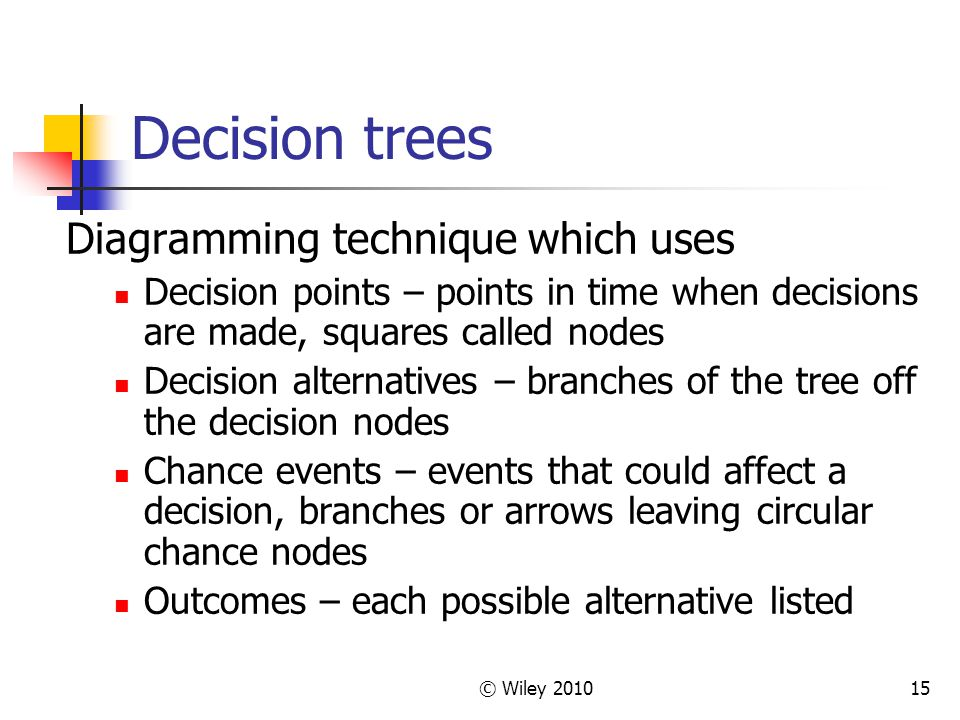 © Wiley 201015 Decision trees Diagramming technique which uses Decision points – points in time when decisions are made, squares called nodes Decision