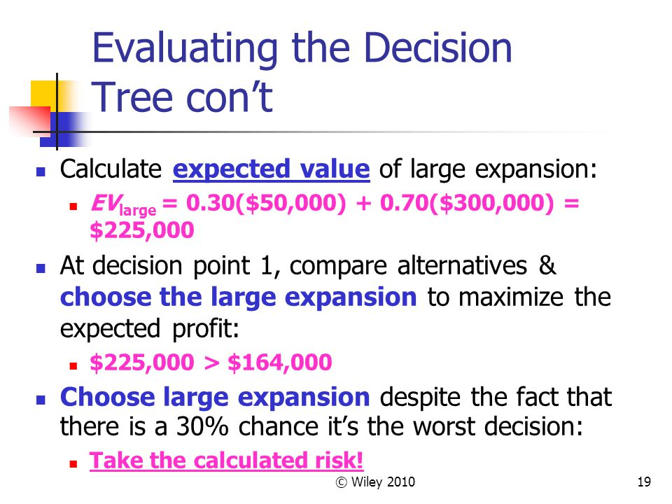 © Wiley 201019 Evaluating the Decision Tree cont Calculate expected value of large expansion: EV large = 0.30($50,000) + 0.70($300,000) = $225,000 At