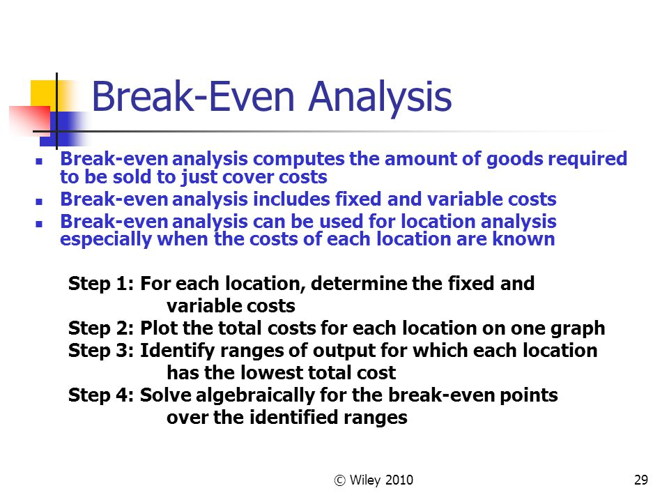 © Wiley 201029 Break-Even Analysis Break-even analysis computes the amount of goods required to be sold to just cover costs Break-even analysis includ