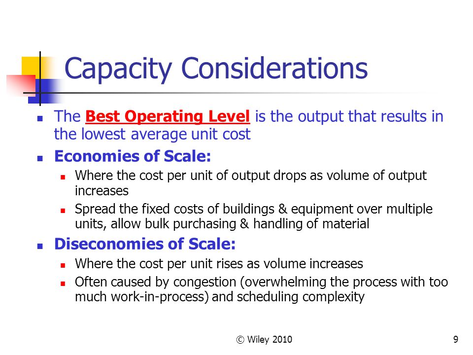 © Wiley 20109 Capacity Considerations The Best Operating Level is the output that results in the lowest average unit cost Economies of Scale: Where th