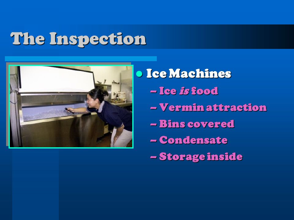 Ice Machines Ice Machines –Ice is food –Vermin attraction –Bins covered –Condensate –Storage inside