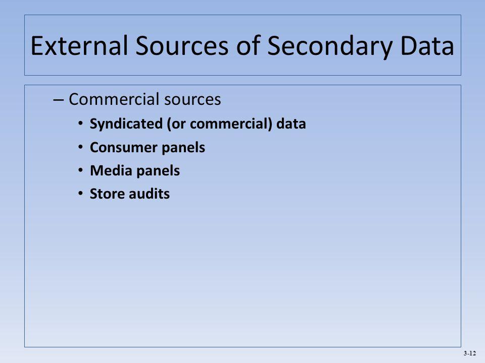 3-12 External Sources of Secondary Data – Commercial sources Syndicated (or commercial) data Consumer panels Media panels Store audits