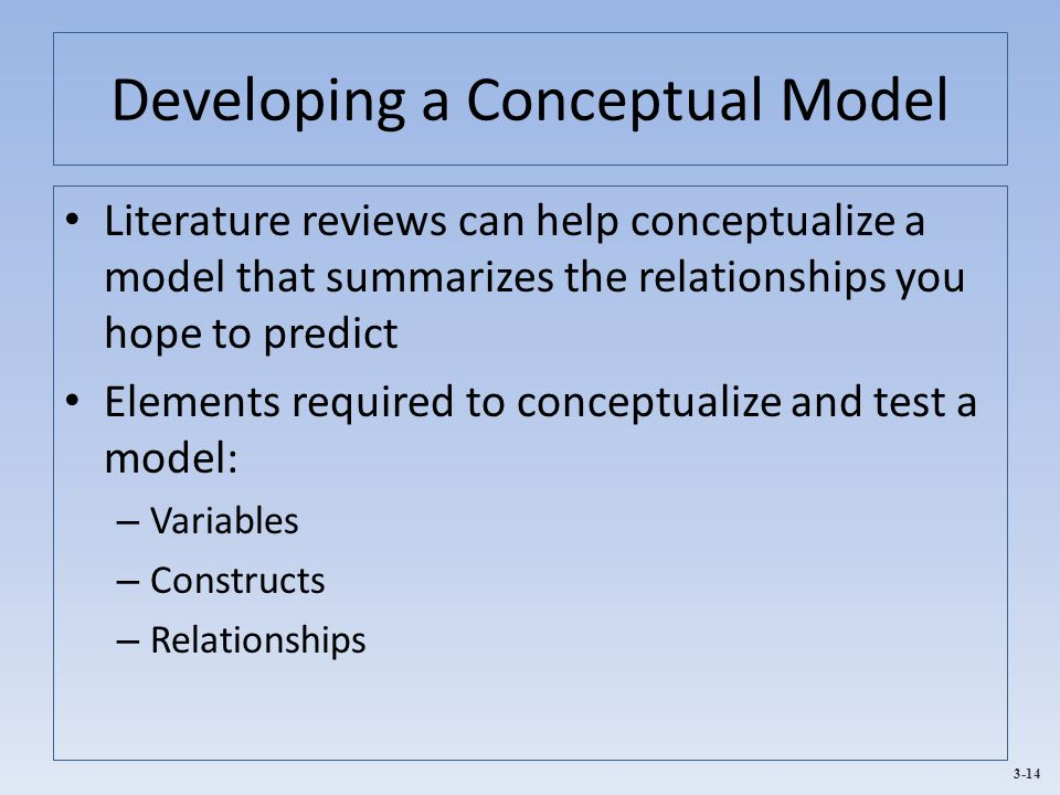 3-14 Developing a Conceptual Model Literature reviews can help conceptualize a model that summarizes the relationships you hope to predict Elements required to conceptualize and test a model: – Variables – Constructs – Relationships