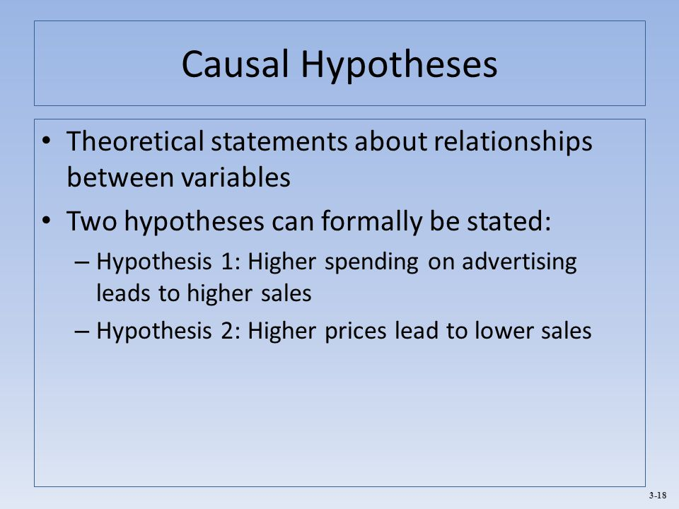 3-18 Causal Hypotheses Theoretical statements about relationships between variables Two hypotheses can formally be stated: – Hypothesis 1: Higher spending on advertising leads to higher sales – Hypothesis 2: Higher prices lead to lower sales
