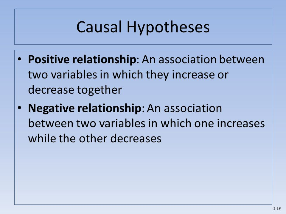 3-19 Causal Hypotheses Positive relationship: An association between two variables in which they increase or decrease together Negative relationship: An association between two variables in which one increases while the other decreases