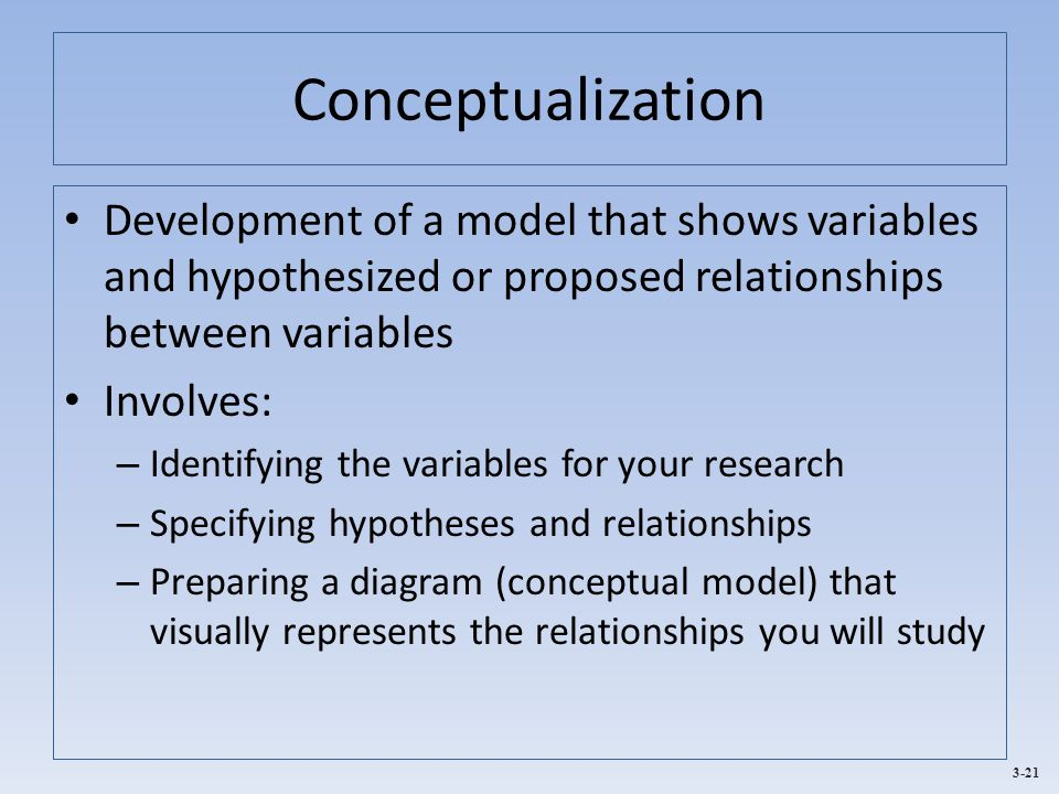 3-21 Conceptualization Development of a model that shows variables and hypothesized or proposed relationships between variables Involves: – Identifying the variables for your research – Specifying hypotheses and relationships – Preparing a diagram (conceptual model) that visually represents the relationships you will study