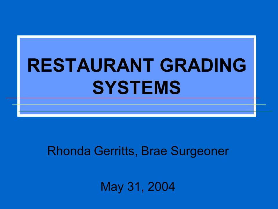 RESTAURANT GRADING SYSTEMS Rhonda Gerritts, Brae Surgeoner May 31, 2004