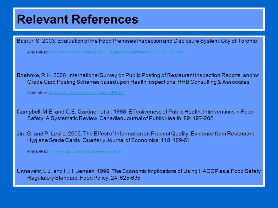 Relevant References Basrur, S. 2003.