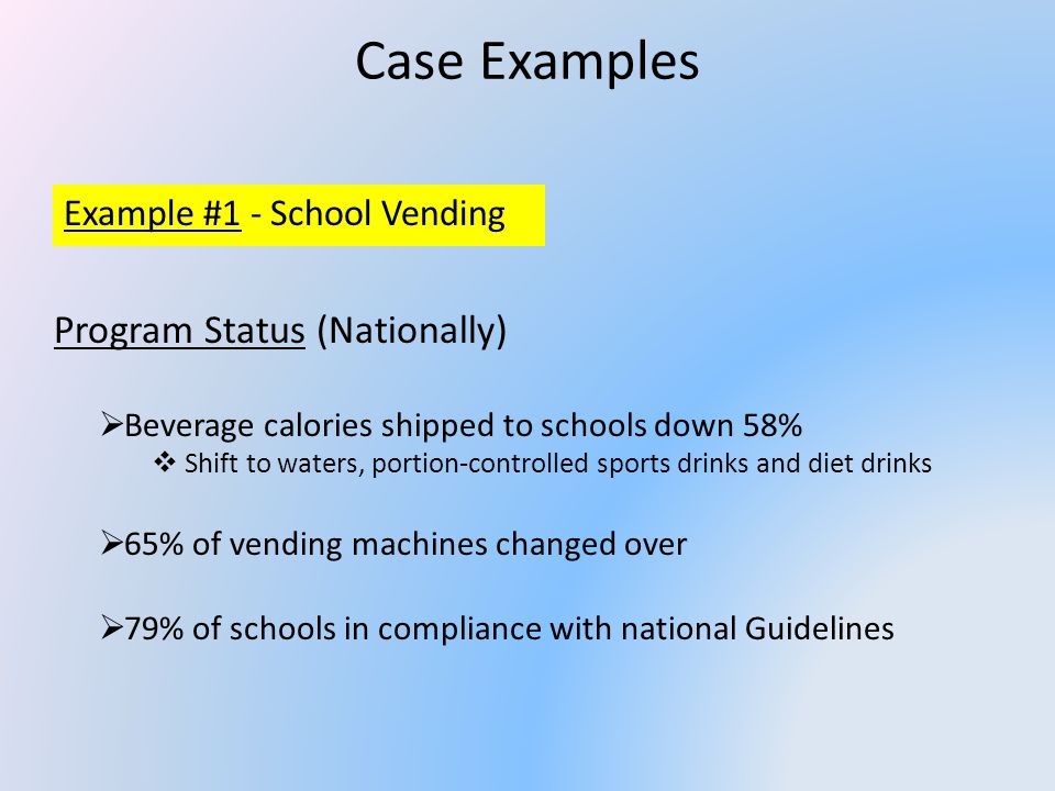 Case Examples Example #1 - School Vending Why This Works.