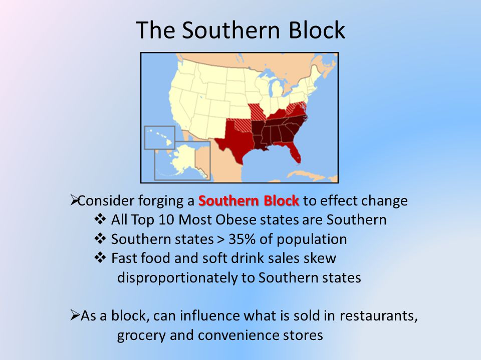 The Southern Block Southern Block Consider forging a Southern Block to effect change All Top 10 Most Obese states are Southern Southern states > 35% of population Fast food and soft drink sales skew disproportionately to Southern states As a block, can influence what is sold in restaurants, grocery and convenience stores