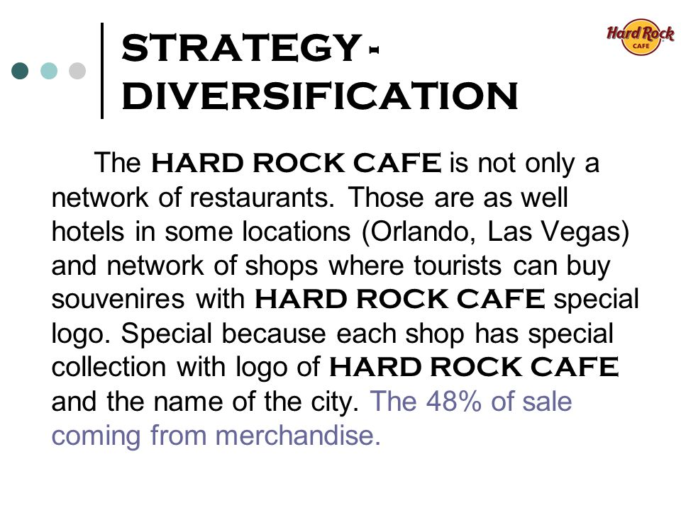 STRATEGY - DIVERSIFICATION The HARD ROCK CAFE is not only a network of restaurants.