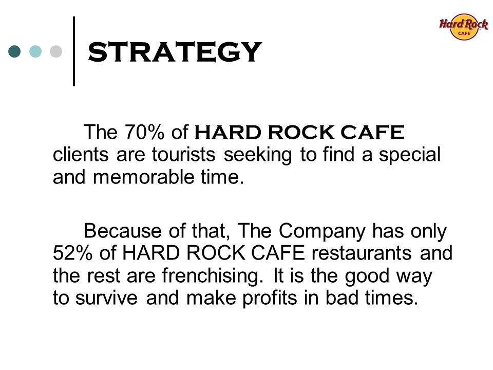 STRATEGY The 70% of HARD ROCK CAFE clients are tourists seeking to find a special and memorable time.
