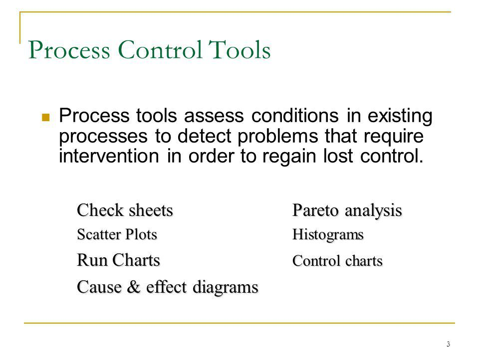 3 Process tools assess conditions in existing processes to detect problems that require intervention in order to regain lost control. Check sheetsPare
