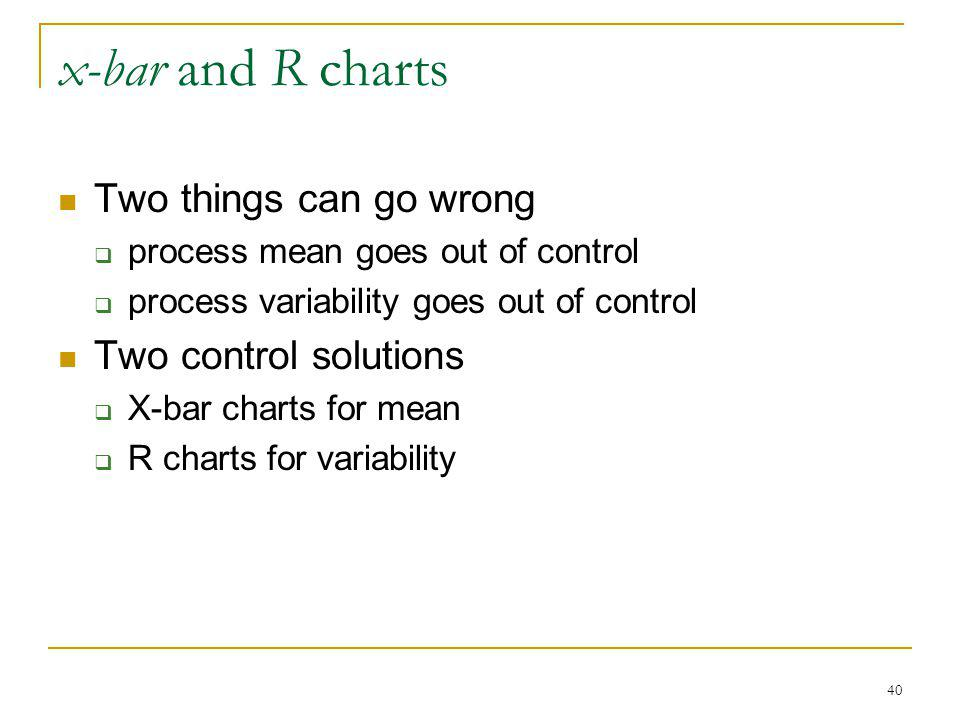 40 x-bar and R charts Two things can go wrong process mean goes out of control process variability goes out of control Two control solutions X-bar cha