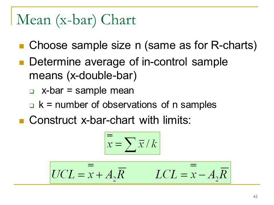 43 Mean (x-bar) Chart Choose sample size n (same as for R-charts) Determine average of in-control sample means (x-double-bar) x-bar = sample mean k =
