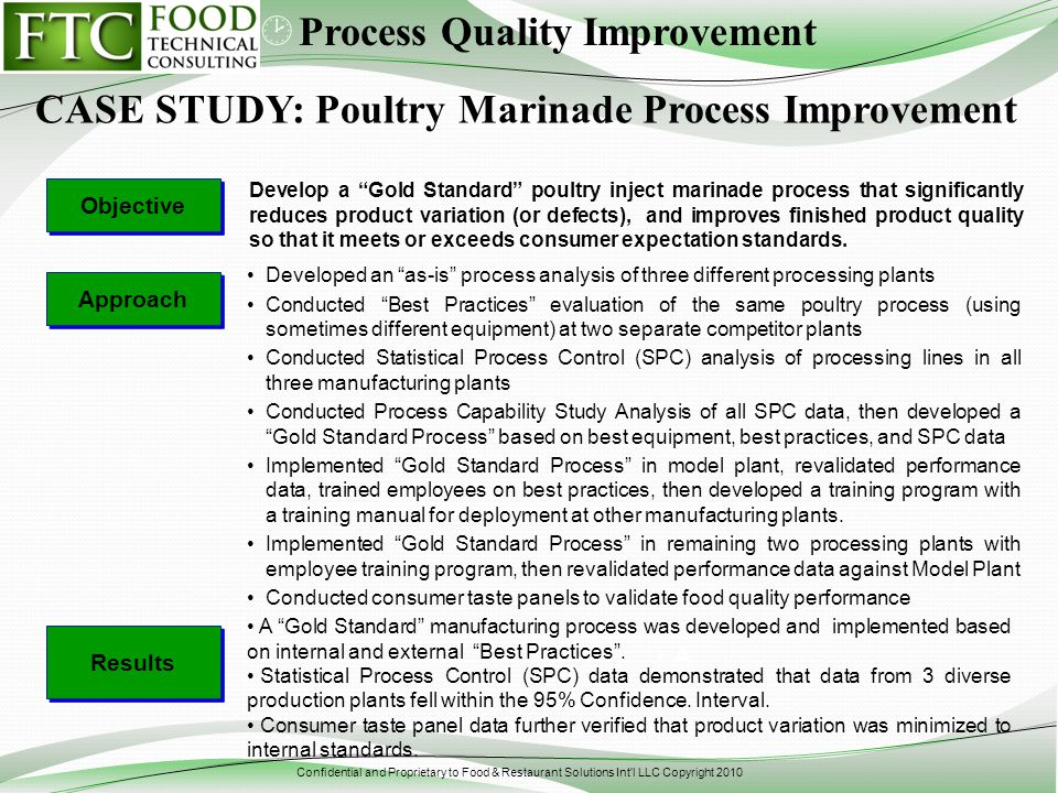 Confidential and Proprietary to Food & Restaurant Solutions Int'l LLC Copyright 2010 Develop a Gold Standard poultry inject marinade process that sign
