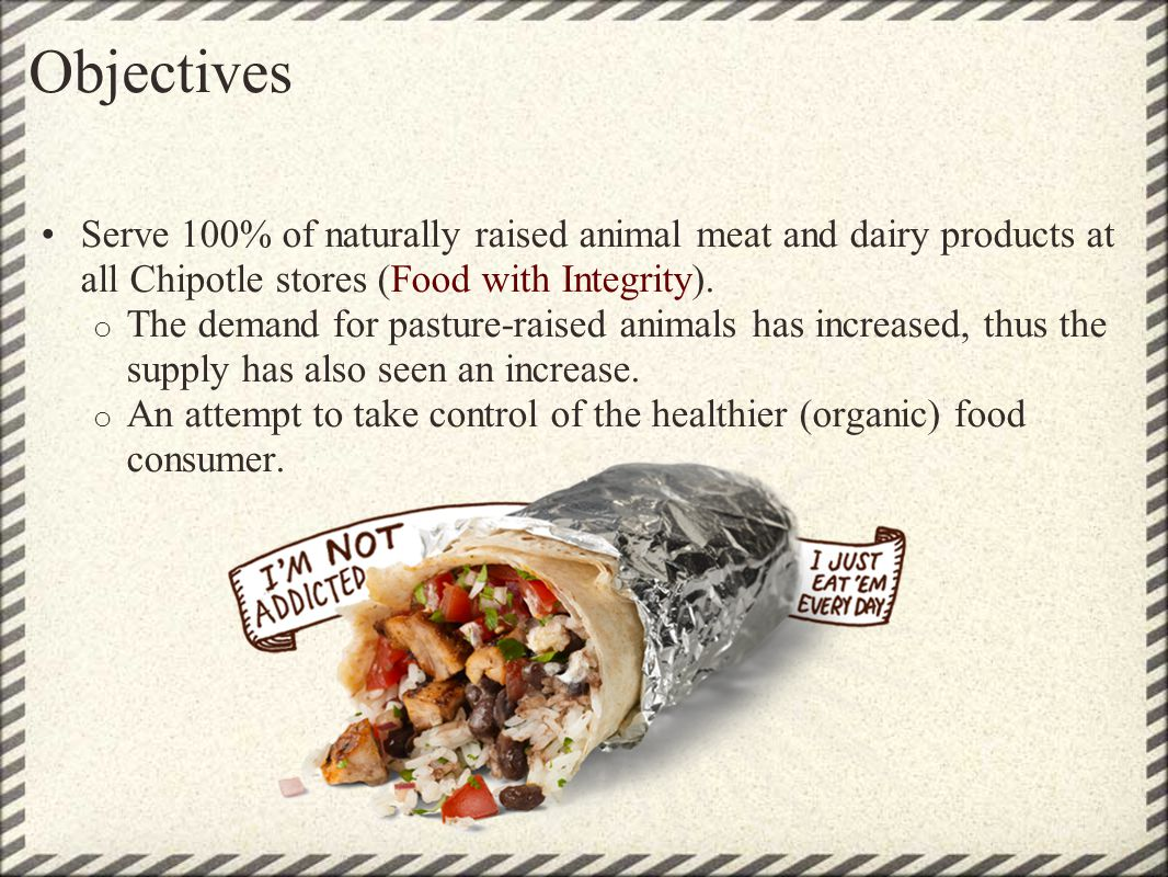 Objectives Serve 100% of naturally raised animal meat and dairy products at all Chipotle stores (Food with Integrity). o The demand for pasture-raised