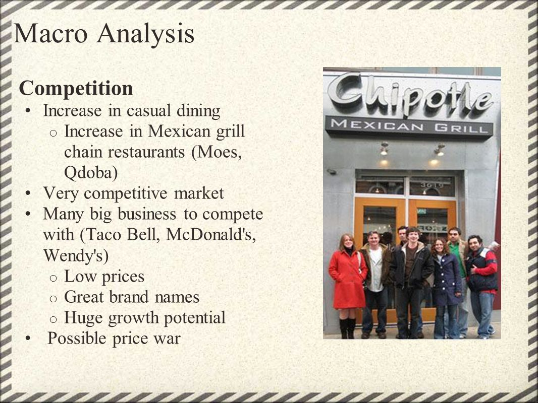 Macro Analysis Competition Increase in casual dining o Increase in Mexican grill chain restaurants (Moes, Qdoba) Very competitive market Many big busi