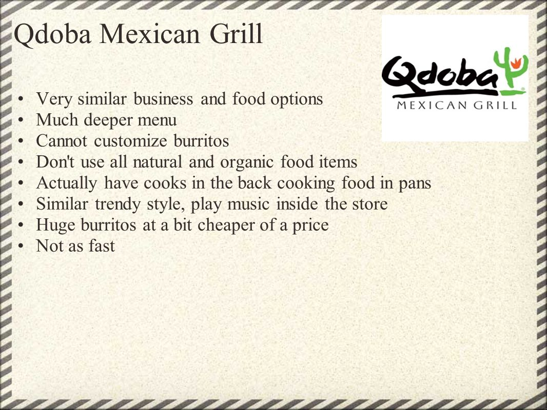 Qdoba Mexican Grill Very similar business and food options Much deeper menu Cannot customize burritos Don't use all natural and organic food items Act