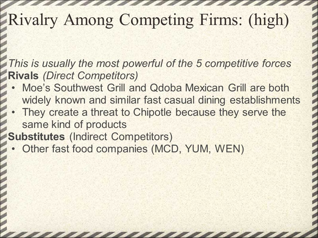 Rivalry Among Competing Firms: (high) This is usually the most powerful of the 5 competitive forces Rivals (Direct Competitors) Moes Southwest Grill a