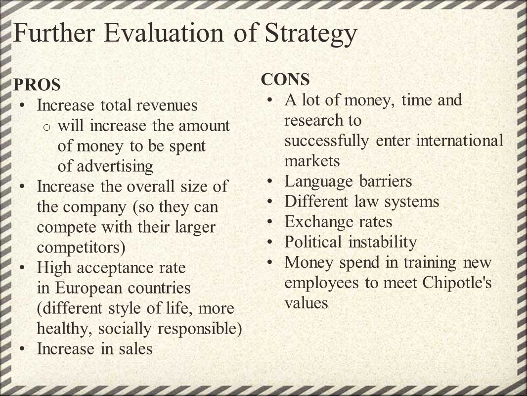 Further Evaluation of Strategy PROS Increase total revenues o will increase the amount of money to be spent of advertising Increase the overall size o