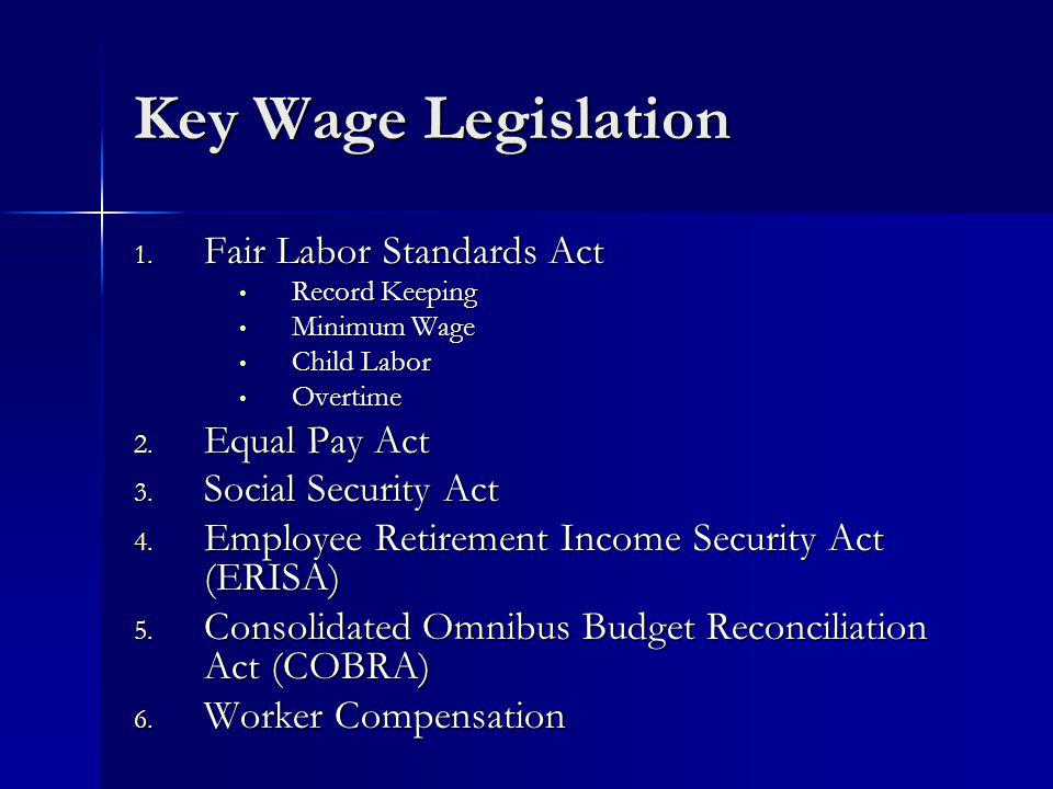 Key Wage Legislation 1.