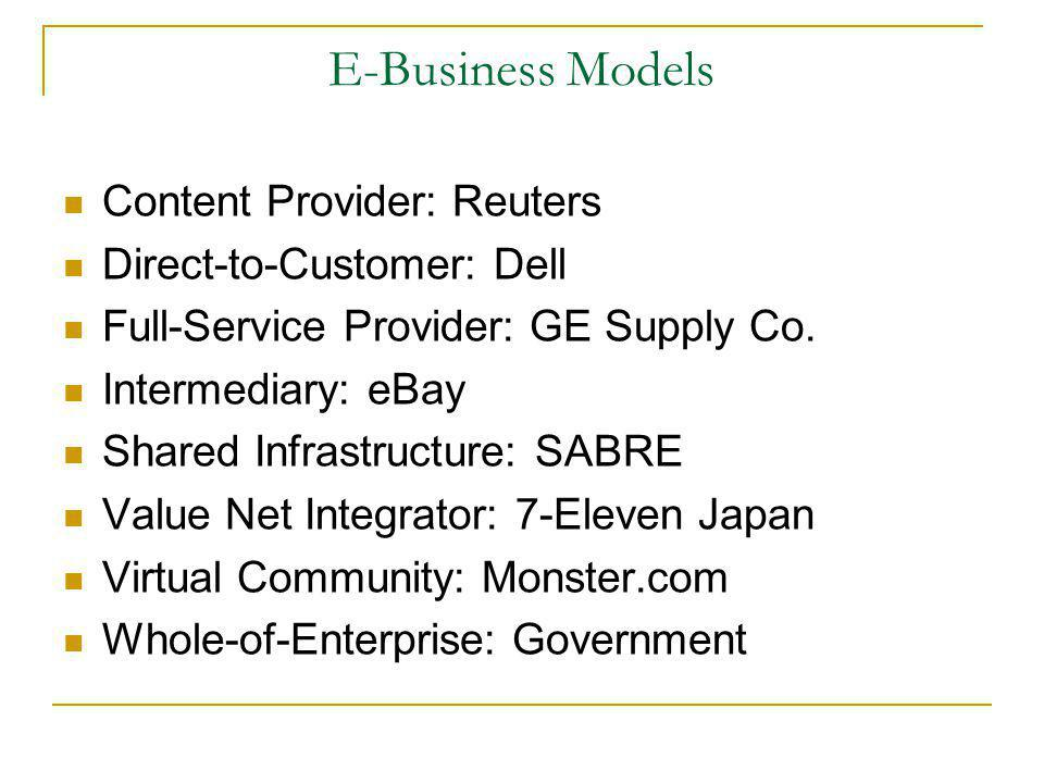 E-Business Models Content Provider: Reuters Direct-to-Customer: Dell Full-Service Provider: GE Supply Co. Intermediary: eBay Shared Infrastructure: SA